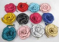10pcs/lot Cute Mini PU Leather Rose Flower Coin Purse Free Shipping
