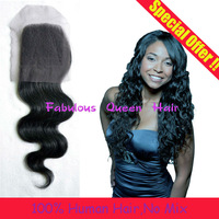Brazilian lace closure free part 4x4 natural black ture length rosa hair brazilian body wave 8''-20'' SPECIAL OFFER 4a Grade