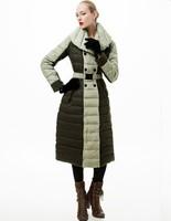 2013/2014 NEW High quality royalcat star woolen patchwork overcoat slim down coat female long design winter garment