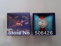 Free Shipping 1Pcs Cute  Children Watch With Boxes Cheap Kids Cartoon Watches Planes Dusty