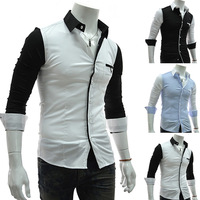 male color block decoration casual long-sleeve shirt all-match shirt T0010