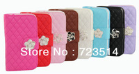 Diamond bling Crystal card holder wallet camellia  flower flip stand Cover Case for Samsung Galaxy S4 SIV i9500 free shipping