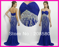 2014 New Fashion Royal Blue Sweetheart Crystal Formal Long Chiffon Evening Prom Dresses Gowns E4419