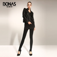 Thickening warm pants female plus velvet one piece pants autumn and winter seamless ball slim step
