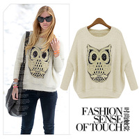 2013 Fashion women's o-neck batwing sleeve sweater ladies' owl decorative autumn pattern Knitwear 5015
