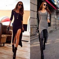 Long Sleeve Slim Irregular Asymmetric Sexy Maxi Dress/Women's Long Split Dress Black Gray Dresses 3C