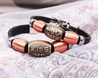 Vintage Women Men English Letter Kiss Me Hug Me Lovers Leather Bracelet  2 pieces/set  Free shipping HeHuanSLQ215