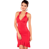 2013New Sexy V- Neck Diamond Halter Evening Dress Slim Fold Solid Color Party Dresses