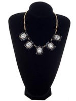 Fashion Women Jewelry Black Square Style Crystal Choker Statement Bib Necklace[JN06044*5]