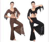 Free shipping Belly dance tribal practice costume high quality women dancing wear hot selling costumes 2pcs/set (top & pant)
