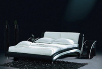 White and Black Genuine leather sofa bed, comfortable headrest design, best choice for your bedroom B02