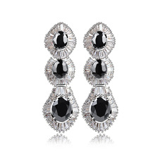 Oval zircon Deluxe Women Tear Drop Shape Long Earrings White Color Zirconia Stone Nickel Free Plated