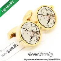 Watch  Cufflinks ,Golden shell round and silver watch movement cufflinks.OP0998 - Free shipping