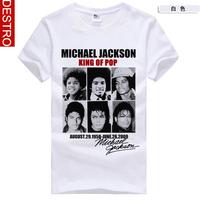 summer Men's short sleeve T-shirt The new 2013 Michael Jackson mark South Korean style Pure white Pure cotton Round collar