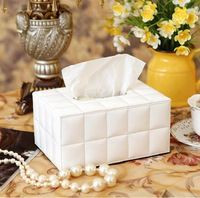 Free Shipping high quality White sheepskin leather tissue box fashion napkin case high quality tissue holder desktop set