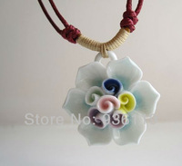 2014 new ceramic rose pendant  rose necklace for lady  jewellry