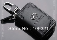 Free Shipping For lexus Series Car Genuine Leather Car Key Case Holder Cover + Alloy Keychain New Beautiful printing.