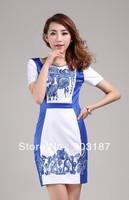 Runway Fashion Wholesale & Retail Women's new printing Slim British style dresses KC188 Free shipping