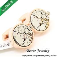 Watch  Cufflinks ,Rose Gold shell and silver movement round cufflinksOP1005 - Free shipping