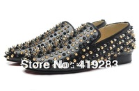 Stylish Designer Red Sole Spikes Men Dress Shoes Large Size Wholesale Mens Shoes Crystal