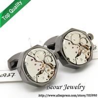 Watch  Cufflinks ,Black shell and silver  movement octagonal watch cufflinks.OP1007 - Free shipping