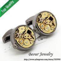 Watch  Cufflinks ,Round black shell and golden  watch movement stripes cufflinks.OP1010 - Free shipping