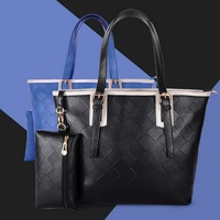 2PCS Fashion Plaid Women's Handbag Shoulder Black Big Bags