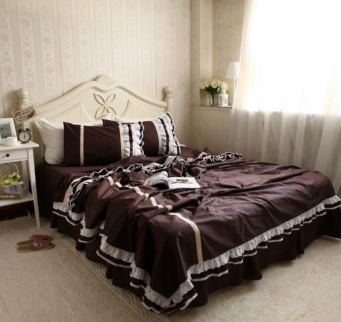 Plissado café de luxo jogo de cama renda bordada , twin rainha full size algodão meninas, têxteis-lar tampa bedskirt quilt(China (Mainland))
