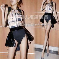 2014 Women's Fashion Beyonce DJ Female Singer Costumes Dance Costume Gauze Patchwork Print One Piece Dovetail Set Free Shipping