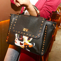Bags national 2014 trend rivet medium 30 briefcase shoulder bag handbag brand leather messenger bag