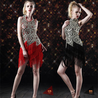 Free Shipping Personalized cheongsam stand collar tassel Latin dance skirt paillette racerback performance wear one-piece dress