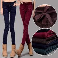 2014 new corduroy pants  women multicolour elastic waist pencil pants winter women trousers free shipping