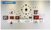 Free Shipping!Fashion Solid Wood Frame Wall,11PCS Creative photo wall sticker+Clock,Simple Modern Style,High Quality,Newest