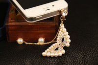 Cute Bling Diamond Prom Mask with Full Pearl3.5mm Headphone Jack Charm Dust Plug Ear Cap for iPhone 5,4,4s,iPod ,Samsung S4 S3
