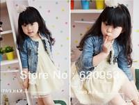 Free shipping female children's clothing washed denim princess lace coat jean jacket Children's cowboy clothing Thin