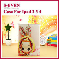 Cute girl Cartoon pu leather Flip Cases Cover For Apple Ipad 4 3 2 tabelt stand case