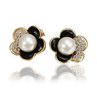 2014 Hot Sale New Fashion Alloy Jewelry  Austrian Crystal Stud Earrings Wholesale 18KGP E555