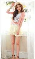 2013 Fashion Graceful Pattern Pleated Long Sleeve Coat Pink  Blue HY12091716