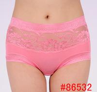 Bamboo fibre women's lace panties women's mid waist seamless plus size panties transparent modal briefs