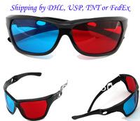 Red+cyan anaglyph 3d glasses in plastic frame+ Shipping by DHL, UPS, TNT or FedEx