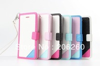 Free shipping Fashion Colorful Wristlet Leather Wallet Flip Cover Case For Iphone 5C 5  For iphone 5c new Case 6 Colors