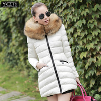 winter cotton-padded  large fur collar with a hood cotton-padded  women's medium-long wadded   jacket outerwear