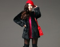 Free shipping Imitation Fox fur jacket and long sections women's thickening  faux fur coat