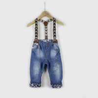 2014 boy's skull suspender jeans free shipping child casual jeans male  child denim suspenders harem pants baby trousers