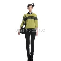 Autumn-Winter New 2013 Long Sleeve O-neck Lace Patchwork Thicken Pullovers Ladies Hoodies t shirt Women Green