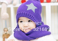 Hat wholesale knitting pentagram cap sets of cap + scarf suit children's hat scarf H014