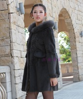 2013 autumn and winter fashion female full leather rex rabbit fur coat grey velvet velour