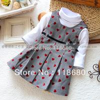 new 2013 spring autumn baby girl dress children clothing sets kids t-shirt + plaid dress girl's fashion all-match princess dress