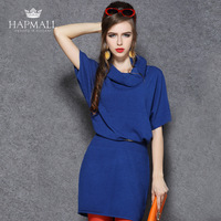 Hapmall autumn and winter one-piece dress 2013 fashion elegant batwing sleeve slim wool knitted one-piece dress