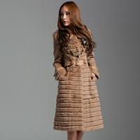 Fur outerwear 2013 winter design fashion long rex rabbit fur coat female